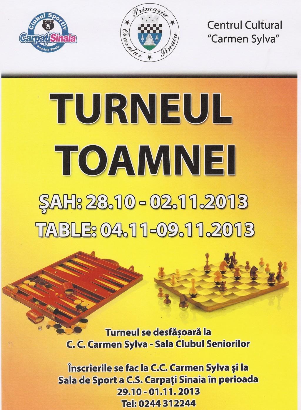"""Concurs de Sah si Table la Turneul Toamnei 2013, in Sinaia, la Centrul Cultural """"Carmen Sylva"""" Sinaia, sala Clubul Seniorilor"""