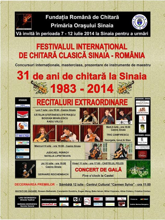 """""""Festivalul de Chitară Clasică"""" Sinaia, 7–12 iulie 2014, ediția a XVIII-a"""