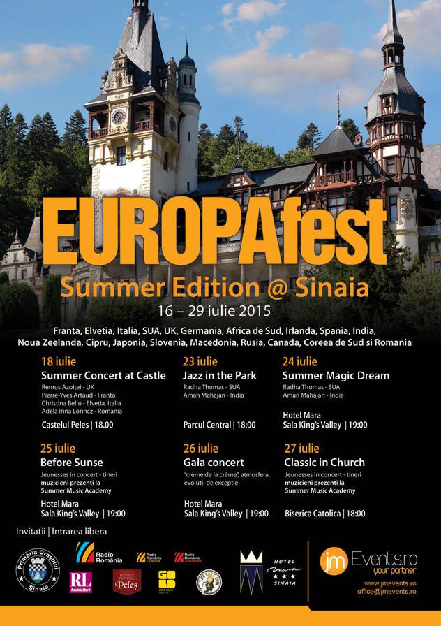 EUROPAfest Summer Edition @ Sinaia - Concerte de vară la Castelul Peleș între 16 – 29 iulie 2015