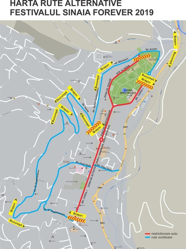 Harta rute alternative pentru Festivalul Sinaia Forever 2019